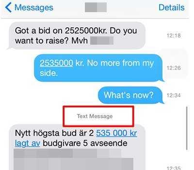 Ett utdrag ur sms-konversationen mellan Derek och mäklaren.