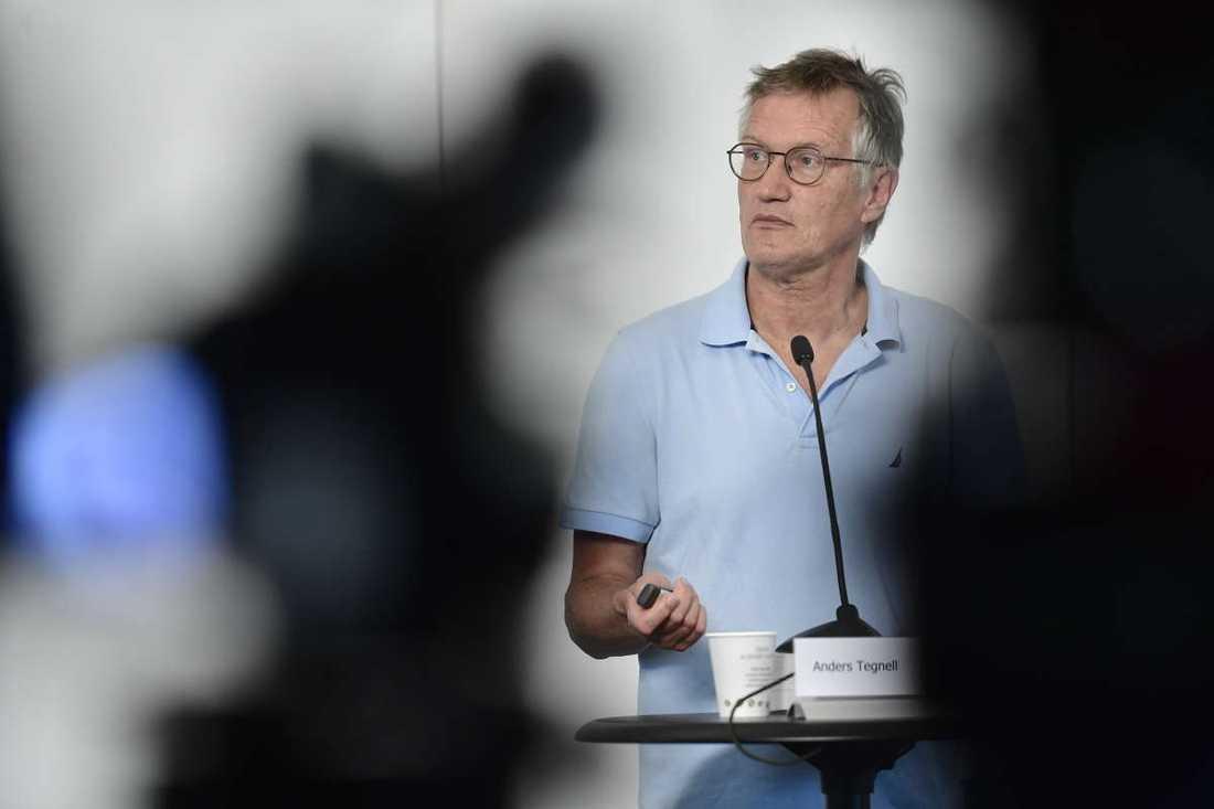 Anders Tegnell under torsdagens presskonferens.