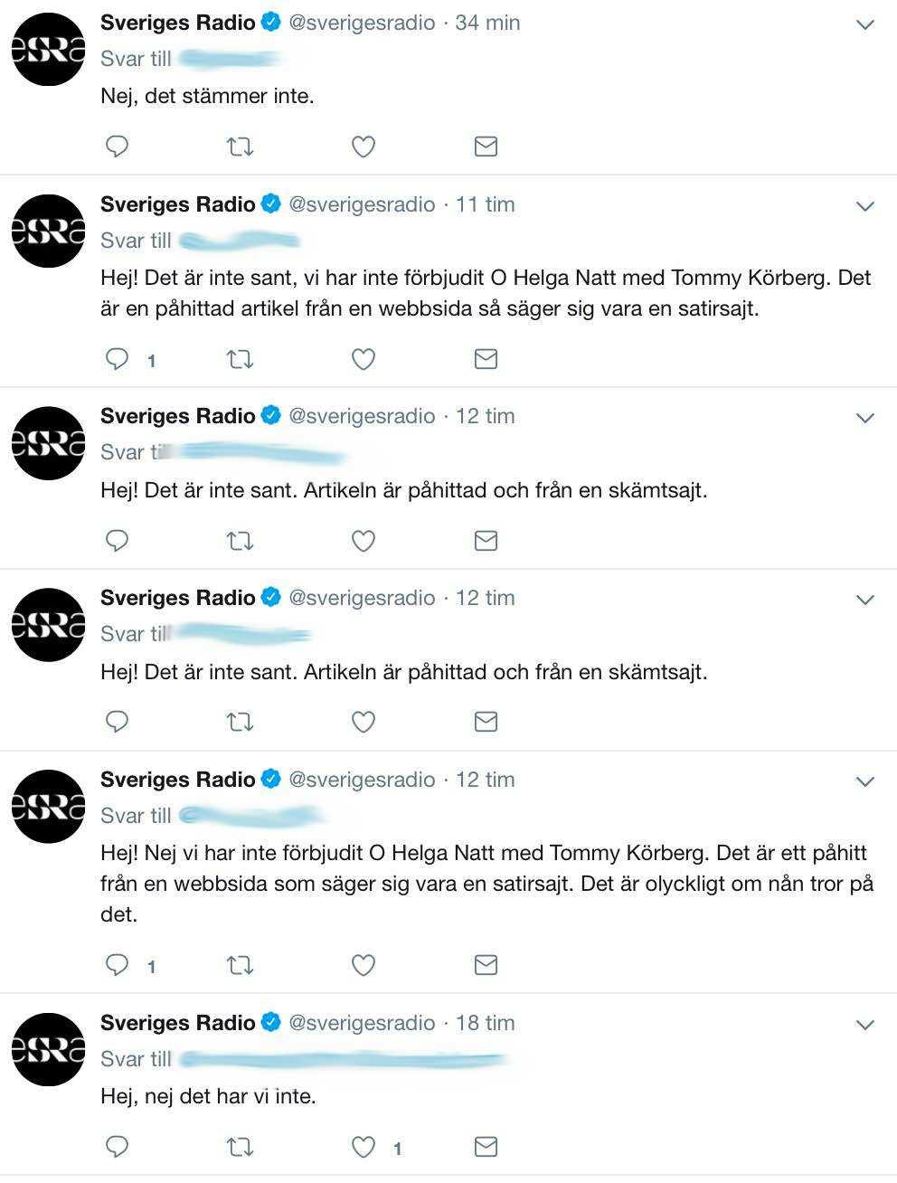Sveriges Radios sociala medier-redaktörer har fått svara på många frågor om den fejkade nyheten.