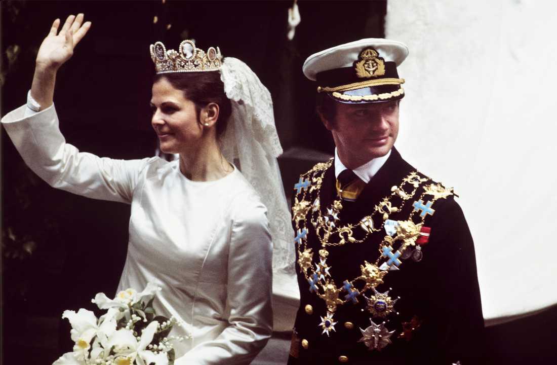 Kung Carl XVI Gustaf och drottning Silvia 1976.