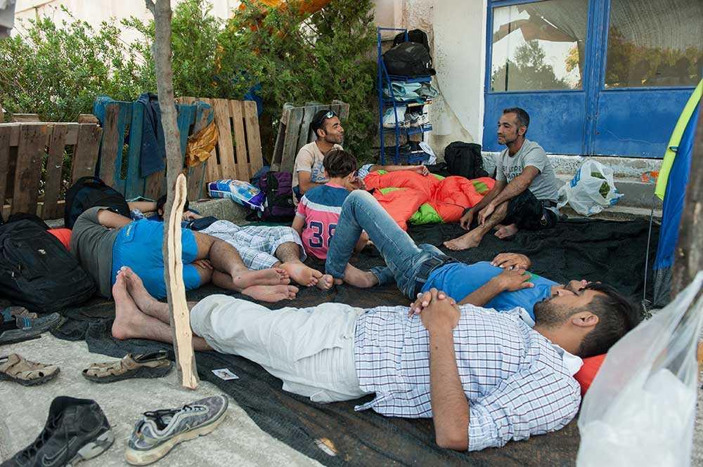 Flyktingar på ön Lesbos.