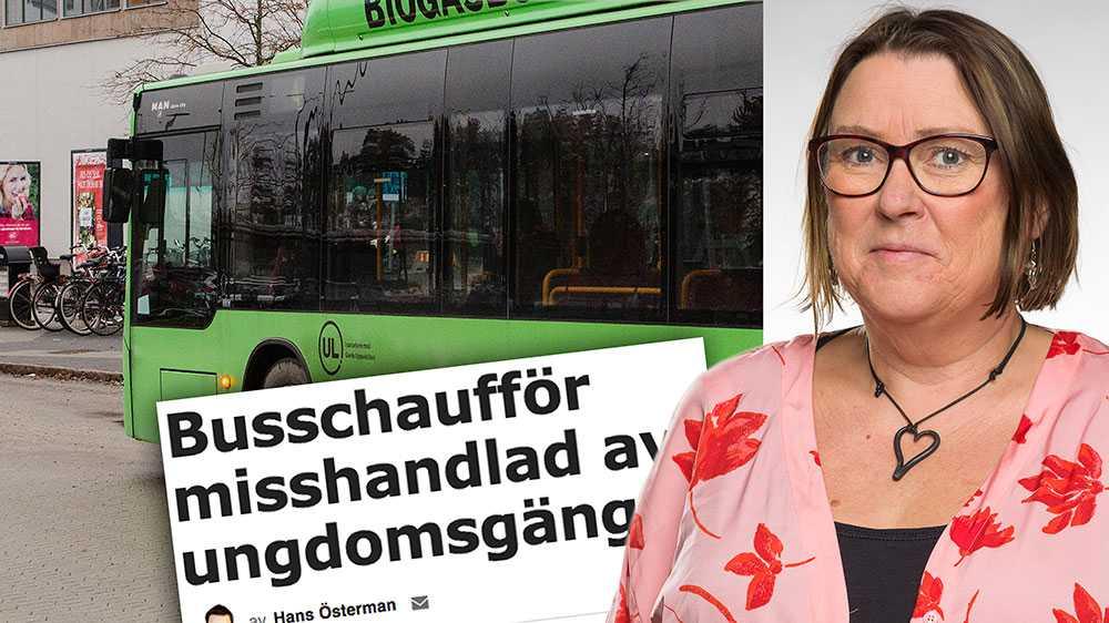 Jag tycker att även lagens röda linje ska dras så att busschaufförer, i likhet med blåljuspersonal, ska ha ett starkare rättsligt skydd mot hot och våld