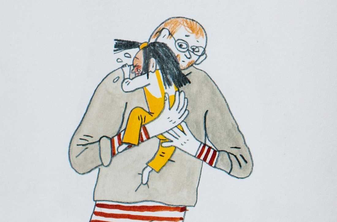 """Som liten behöver man få öva på att det inte är farligt att vara ledsen, menar Emma Adbåge, som illustrerat boken """"Ledsen"""", med text av Lotta Olsson. Beskuren bild ur boken."""