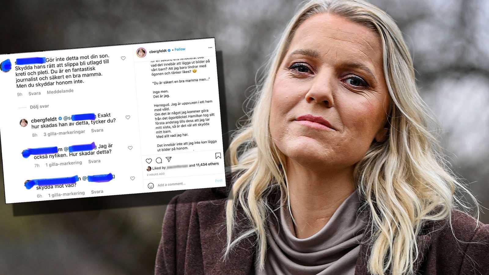 Carina Bergfeldt försvarar bilderna på sonen: Förstår inte hur det skadar