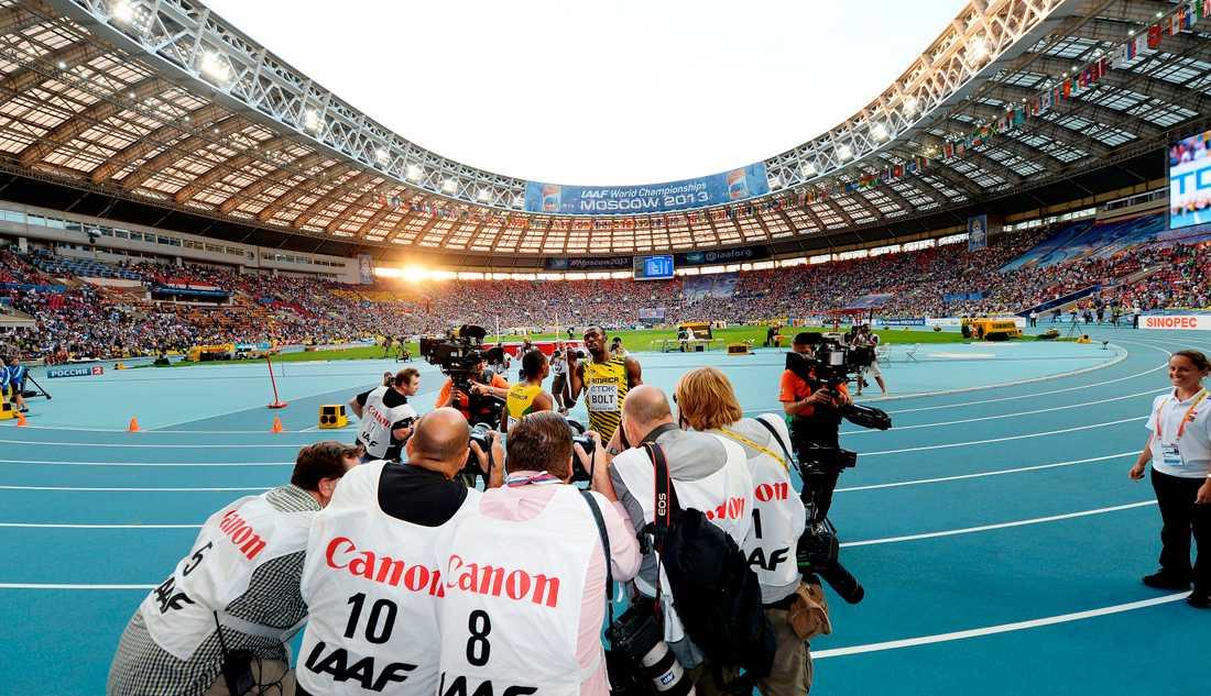 Usain Bolt med Jimmy Wixtröms kamera under VM i Moskva 2013.