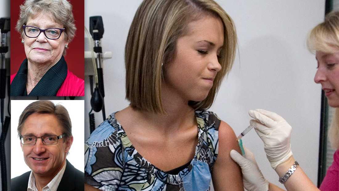 Det är stor skillnad mellan de hpv-vaccin som finns på marknaden i dag. Att då göra en upphandling som skyddar mot färre typer av viruset skulle vara som att köpa en elcykel när man egentligen behöver en pansarvagn, skriver debattörerna. På bilden en flicka som fick vaccinet 2007.