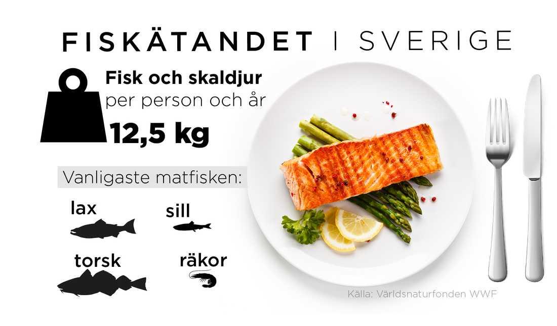 Svenskar äter i genomsnitt två portioner fisk och skaldjur i veckan.