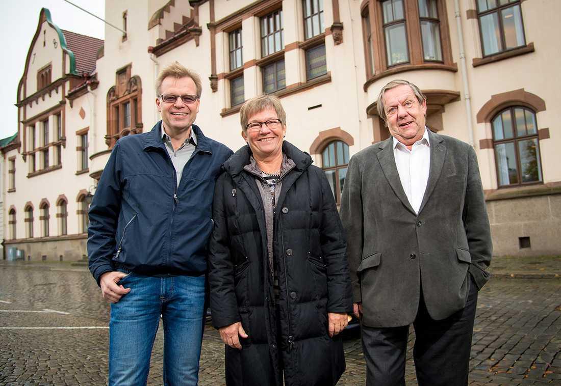 Per-Ola Mattsson (S), Gertrud Ivarsson (C) och Paul Hedlund (FP).