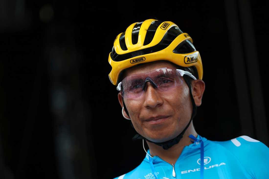 Nairo Quintana råkade ut för en olycka under fredagen, men ska ha klarat sig utan allvarligare skador. Arkivbild.