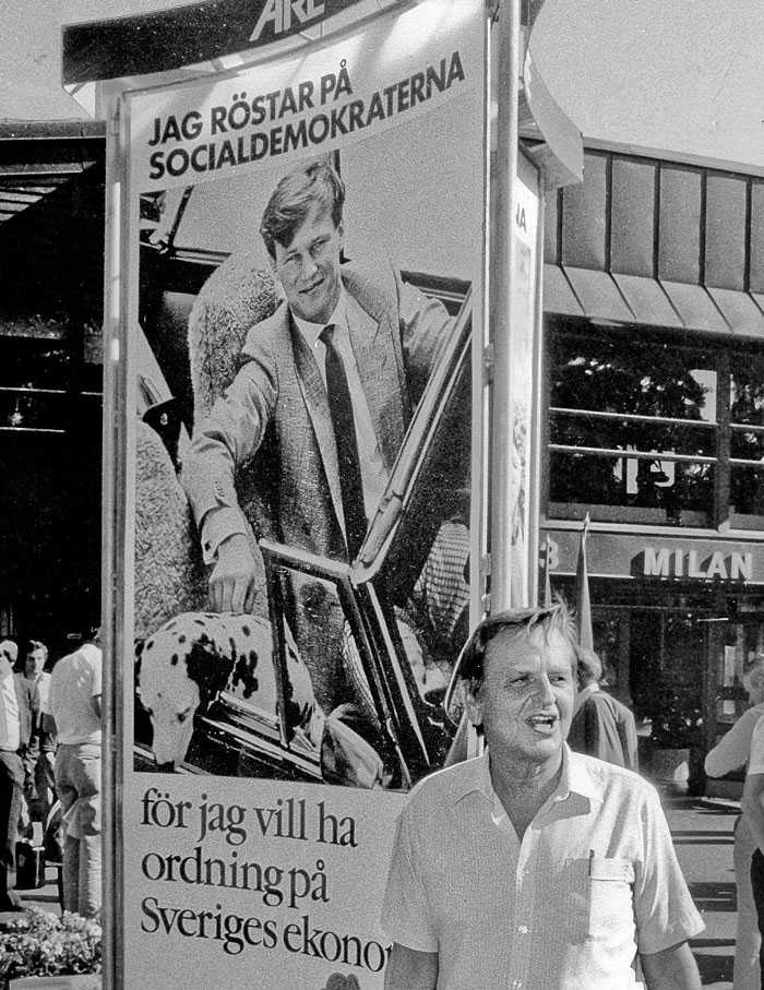 Originalet. Socialdemokraternas affisch från 1985 med Olof Palme med på bilden.