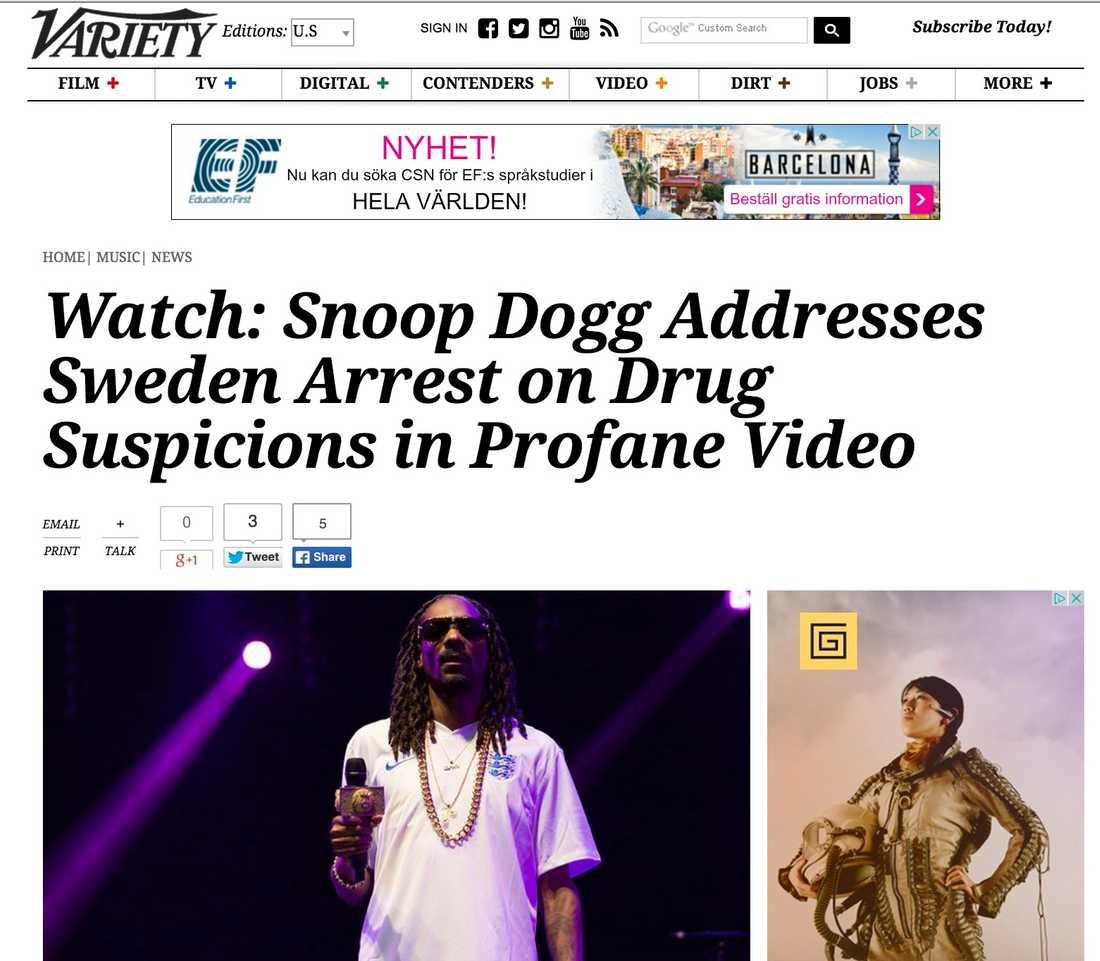 Variety Watch: Snoop Dogg Addresses Sweden Arrest on Drug Suspicions in Profane Video