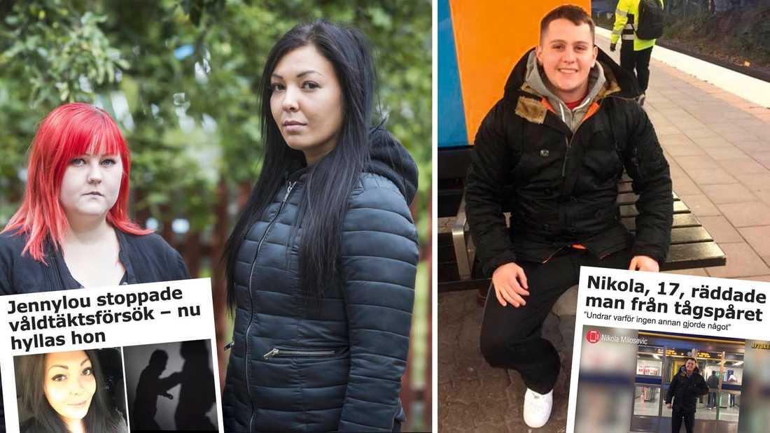 Jenny Englund grep in och stoppade en våldtäkt, och Nikola Milosevic räddade en man från tågspåret. Båda är de exempel på Svenska Hjältar.