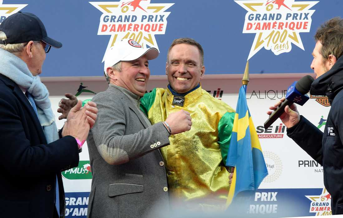 Sébastien Guarato och Björn Goop efter segern i Prix d'Amérique.