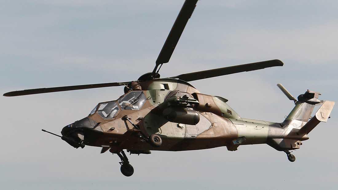 Franska Aribus, som bland annat tillverkar helikoptern Tiger, är kritiskt mot att Tyskland ensidigt kan stoppa vapenexporten. Arkivbild.