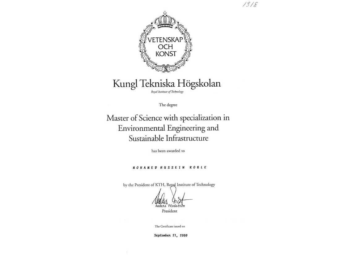 Examensbevis från KTH för Mohamed Hussein Roble, nyutnämnd premiärminister i Somalia.