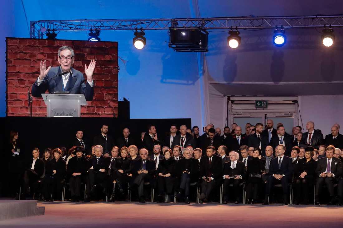 Auschwitzöverlevaren Marian Turski var en av många som höll tal vid minnesceremonin i Auschwitz.