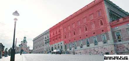 VÄVS IN Stockholms slott sveps nu in i ett gigantiskt nylonnät för att skydda mot nedfallande sten. Östra fasaden får inget nät då inga personer passerar där. På norrsidan blir det heller inget nät eftersom fasaden inte är så skadad där.