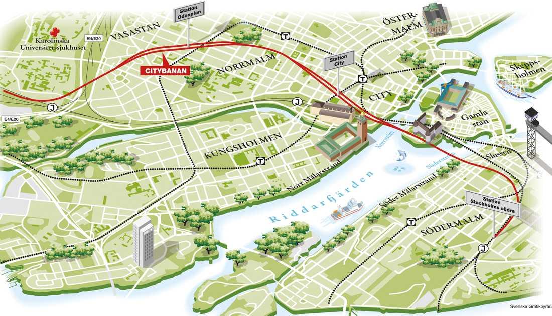 Citybanans sträckning under Stockholm.