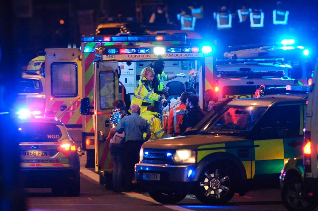 Skadade tas omhand efter terrorattacken på London Bridge.