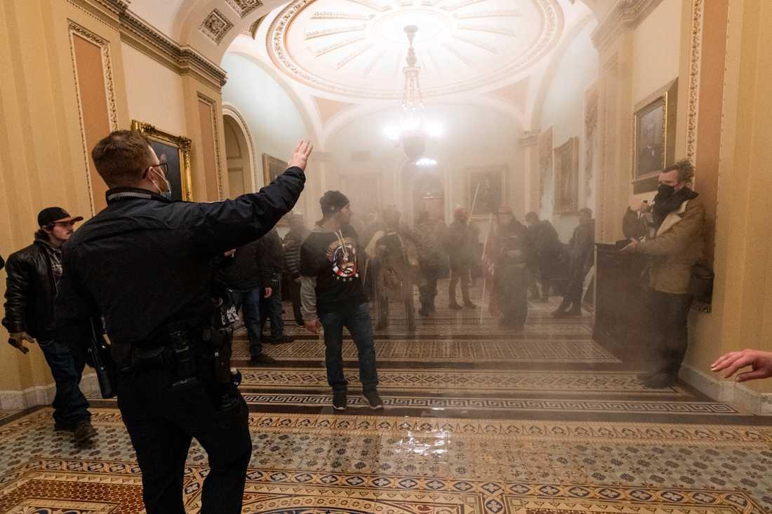 Den amerikanska kongressbyggnaden Kapitolium stormades den 6 januari. Arkivbild.