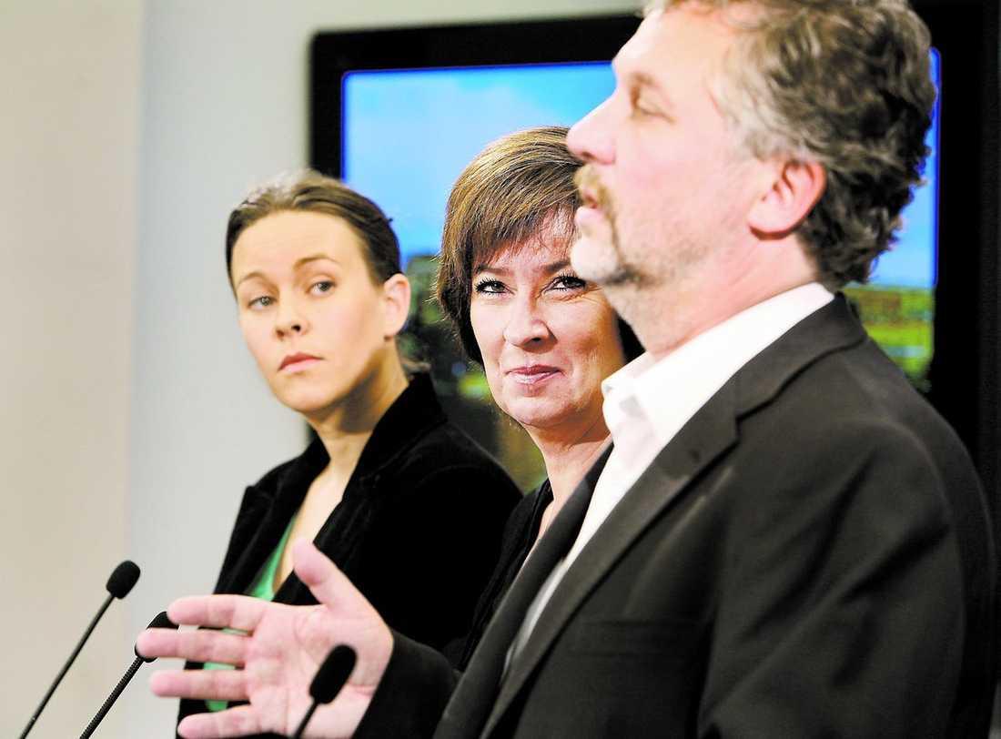 BilDAR ALLIANS Maria Wetterstrand, Mona Sahlin och Peter Eriksson deklarerade i går att de fortsätter samarbetet på egen hand – utan vänsterpartiet.