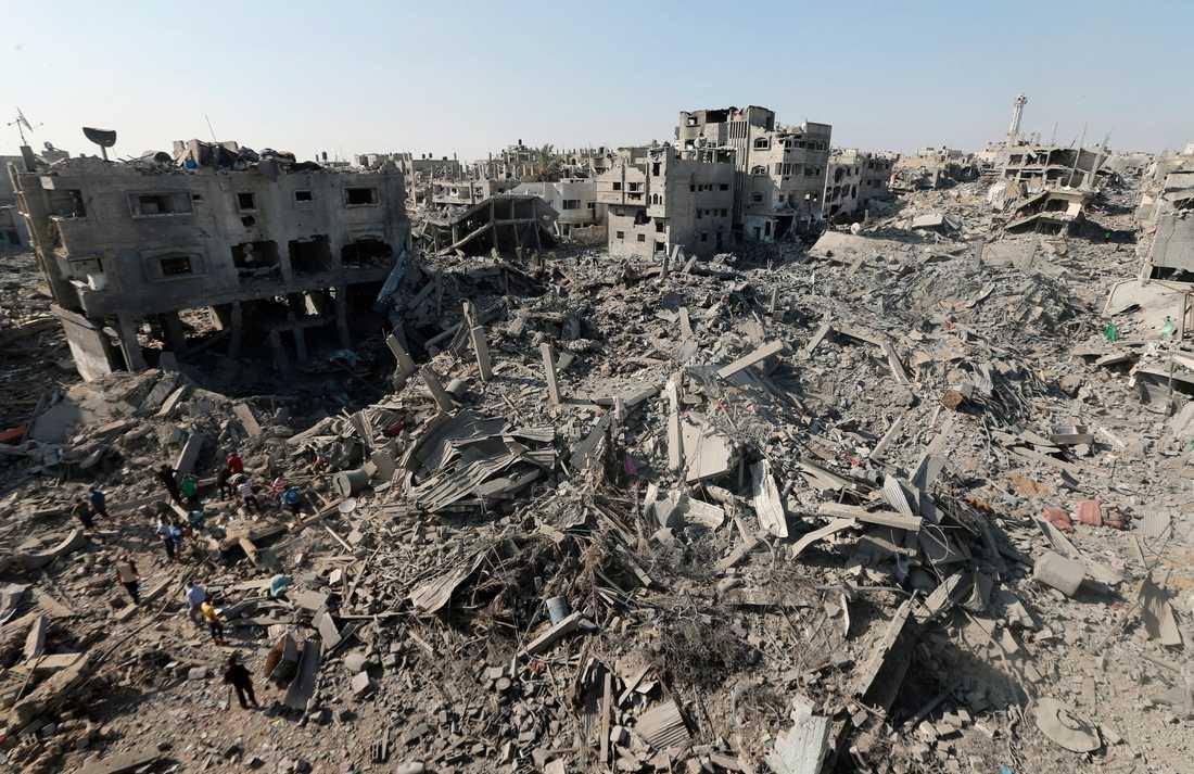Förstörelse i Shejaiya-distriktet i Gaza.