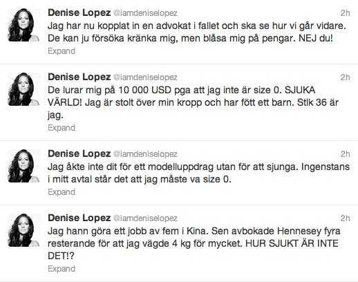 Denise Lopez på Twitter.