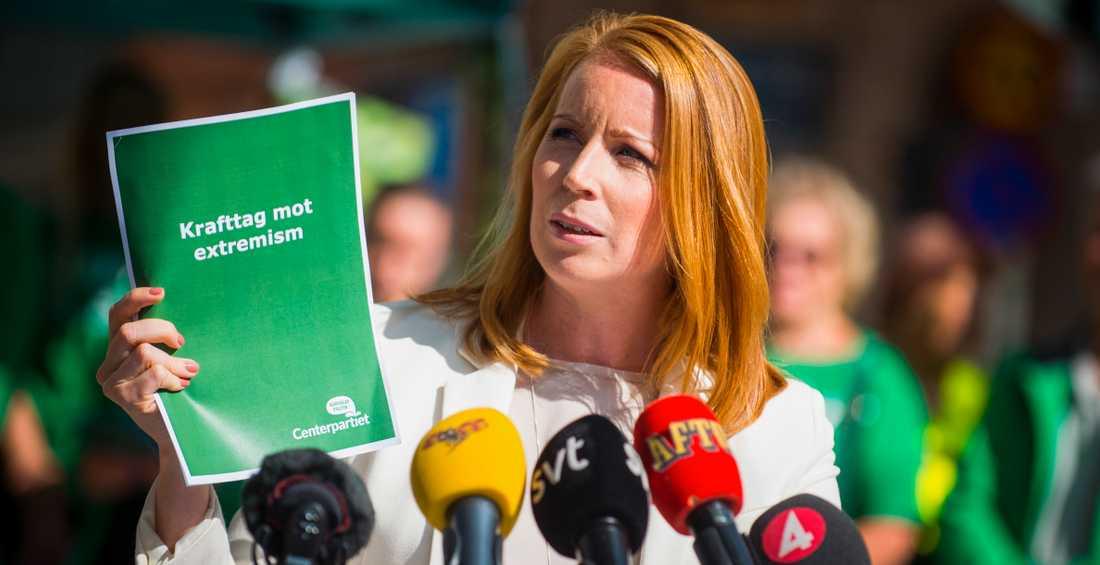 Centerpartiets partiledare Annie Lööf på Kungsholmstorg.