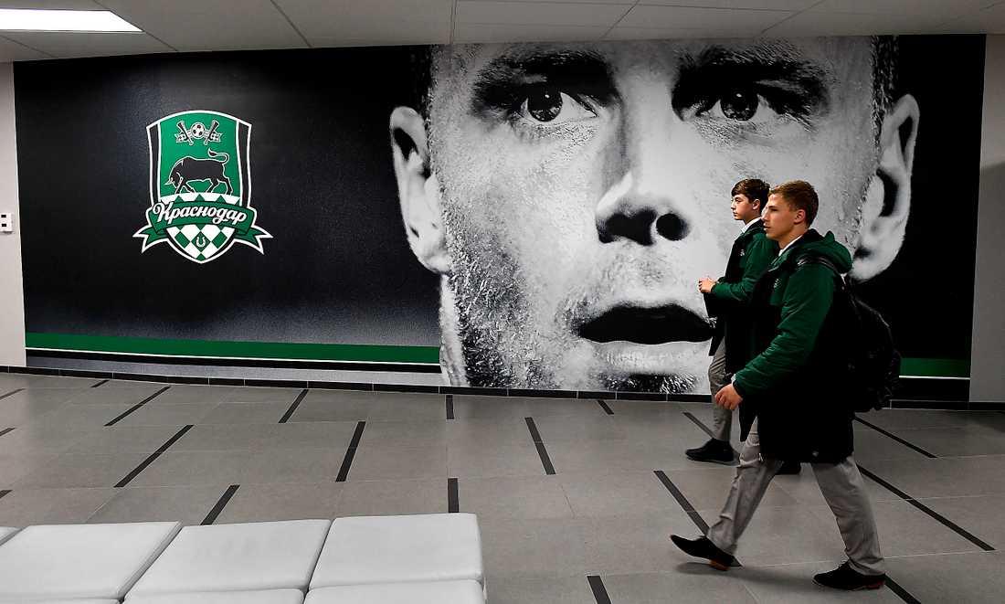 INSPIRATION. Förre Blåvittspelaren Ragnar Sigurdsson pryder en av väggarna på FC Krasnodars exklusiva ungdomsakademi.