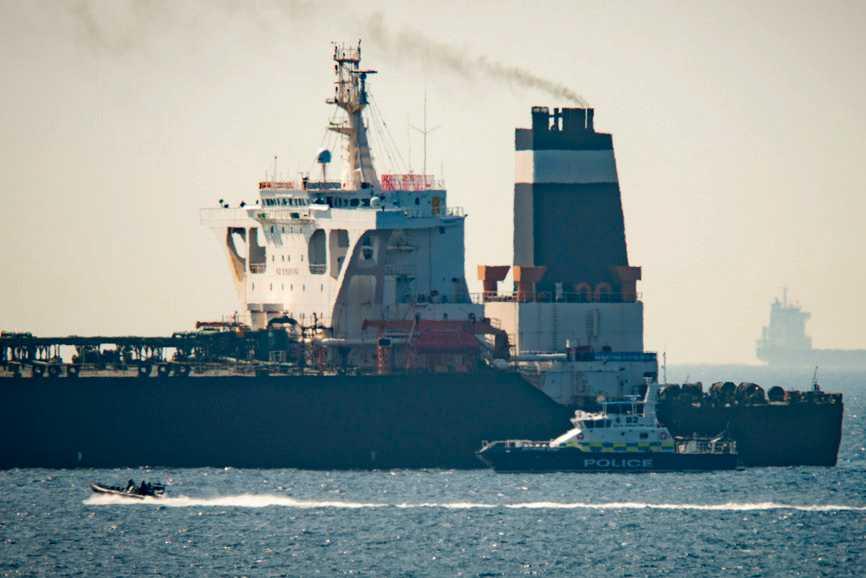 Iranska oljetankern Grace 1 för ankar vid det brittiska territoriet Gibraltar.