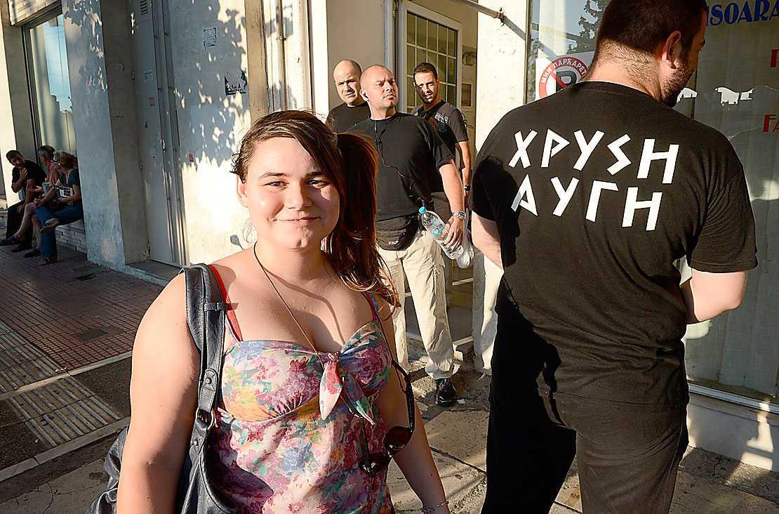 "Ourania Michaloliakou, dotter till ""ledaren"" Nikos Michaloliakos, tycker att illegala immigranter ska deporteras."