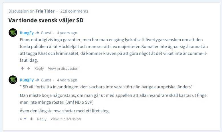 """Den 61-årige läkaren skriver i Fria Tiders kommentarsfält: """"Majoriteten somalier ägnar sig inte åt annat än att tugga kat och kriminalitet."""""""