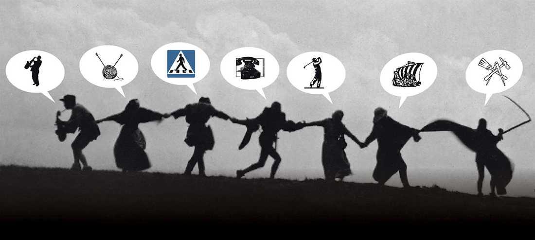 """Scen ur Ingmar Bergmans """"Det sjunde inseglet"""" samt symboler från Sveriges begravningsbyråers förbund."""