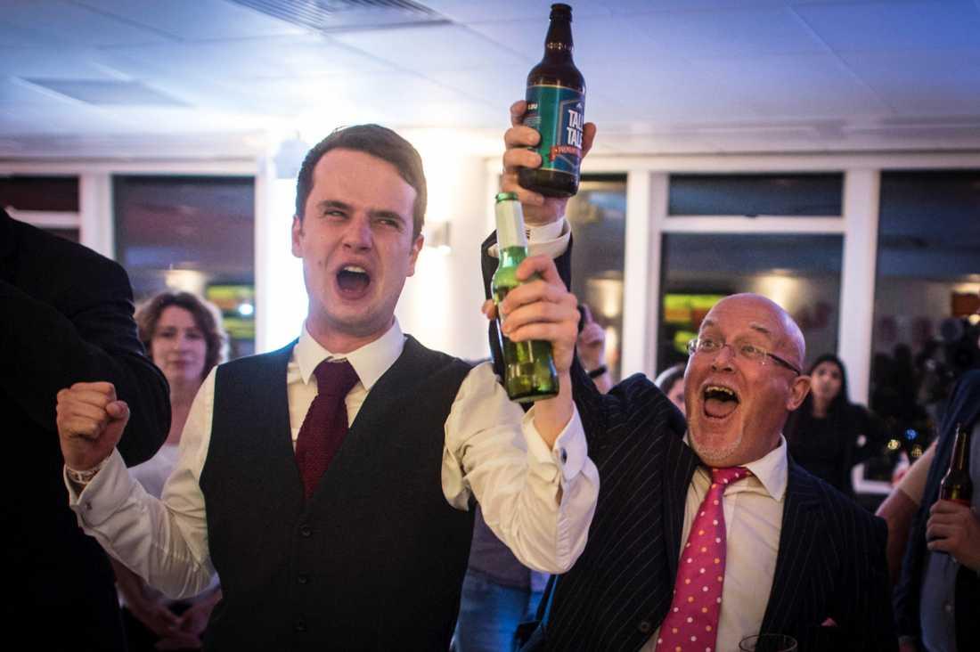 Brexit-sidan firade vid ett party som hölls i centrala London samtidigt som rösterna räknades.