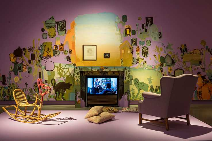 """""""Bloomsbury spirit"""", installationsvy, väggmålning av Peter Köhler."""