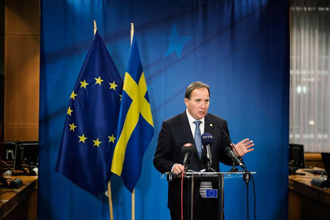 Stefan Löfven på pressträffen efter EU-mötet.