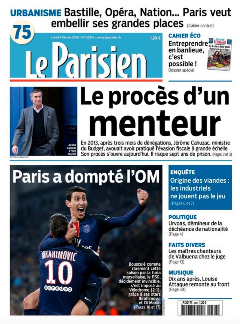 """Le Parisien i dag. """"Paris tämjde OM""""."""