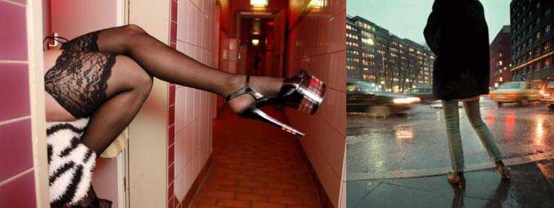 En prostituerad kvinna väntar på kunder i Frankfurt, och en kollega i Stockholm på Malmskillnadsgatan.