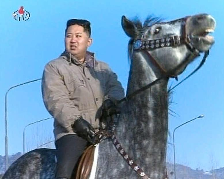Kim Jong Un på en häst.
