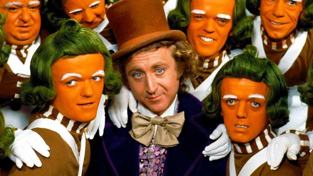 """Gene Wilder och oompa-loompier i """"Willy Wonka och chokladfabriken"""" (1971)."""