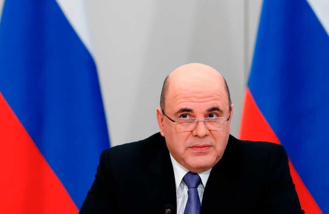 Rysslands premiärminister Michail Misjustin i samband med ett regeringsmöte i Moskva i fredags.