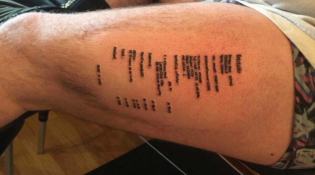 """Sebastian lovade att göra en tatuering """"efter några järn"""". Och han är inte den som sviker sina löften."""