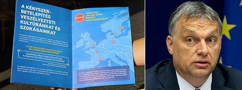 T v nej-sidans propaganda inför morgondagens omröstning. T h premiärminister Viktor Orbán.