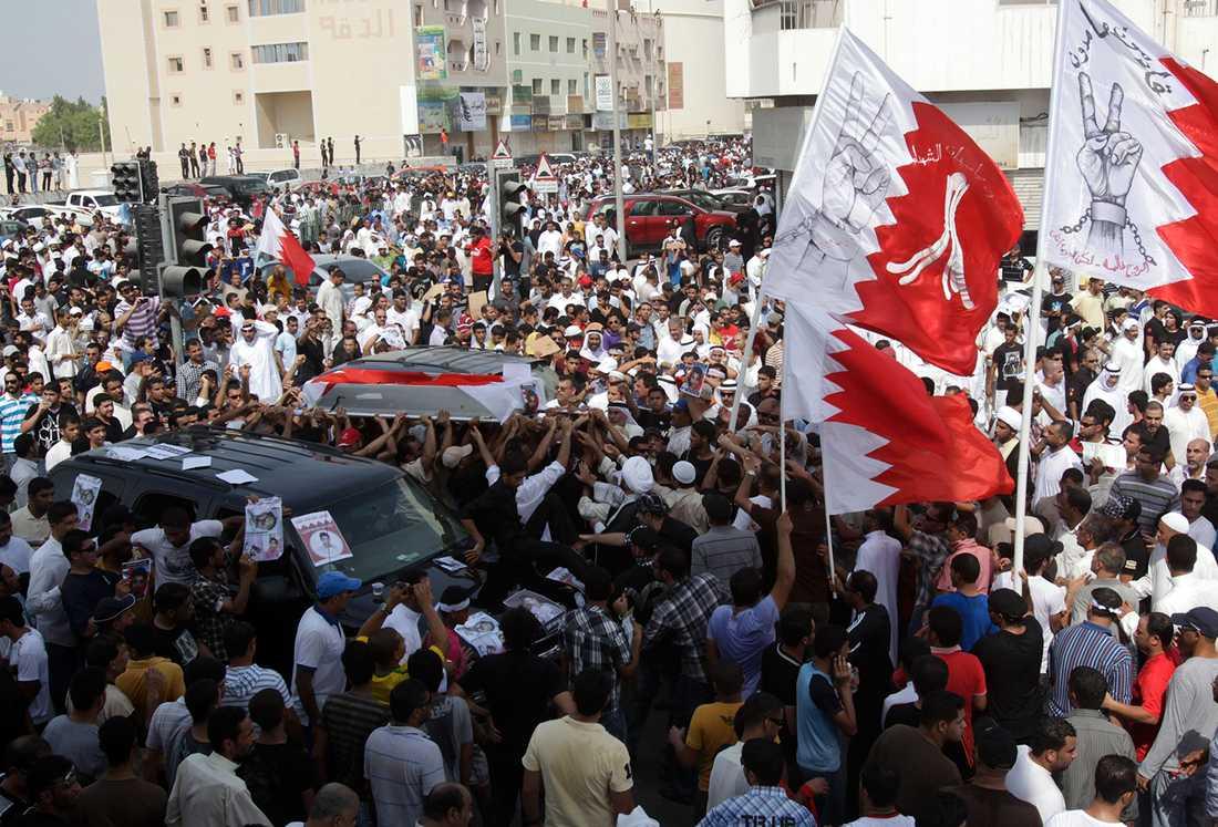 Bahrain skakades av enorma demokratiprotester år 2011, som slogs tillbaka med brutalt övervåld.  AP Photo/Hasan Jamali