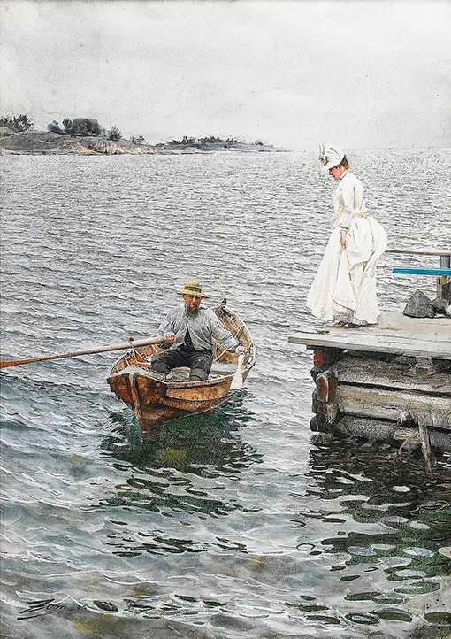 """Akvarellen """"Sommarnöje"""", 1886, med Anders Zorns hustru Emma på Dalarö-bryggan, såldes för 26 miljoner – den dyraste svenska målningen någonsin. Nu visas den i Paris."""