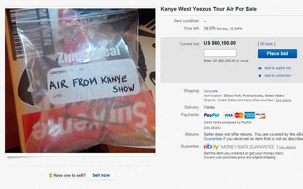 500 000 kronor – så mycket var någon villig att betala för vad som påstås vara luft från en Kanye West-konsert.