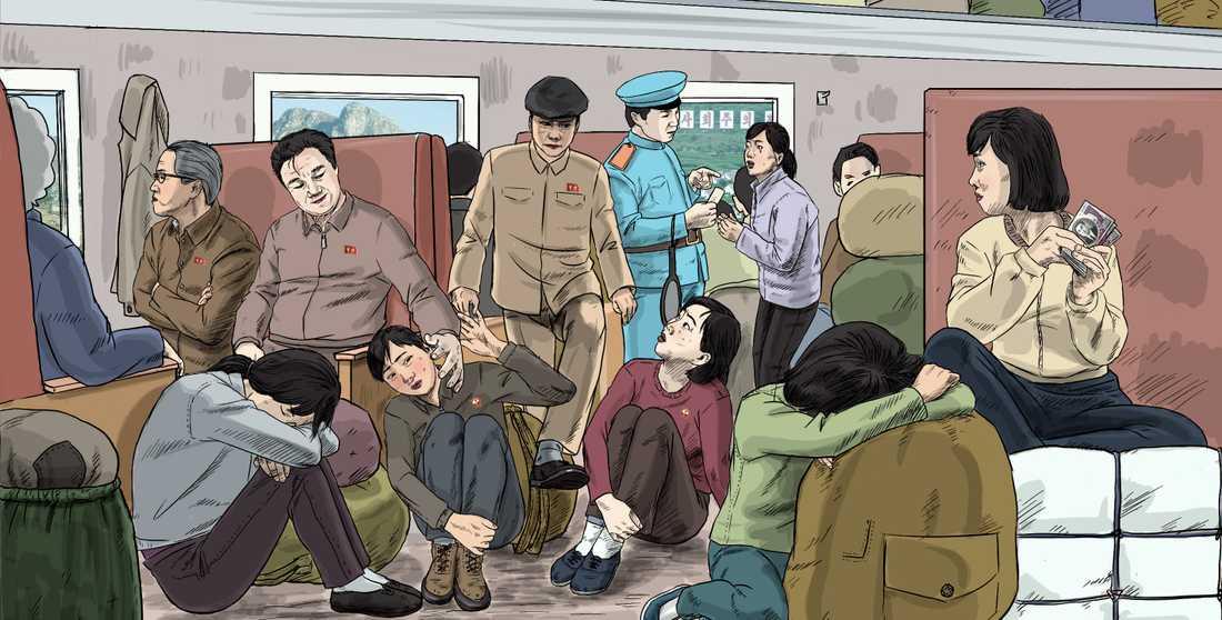 Inte ens på tåg går nordkoreanska kvinnor säkra. Bilden har ritats av nordkoreanen Choi Seong-Guk, som tidigare var tecknare åt staten.