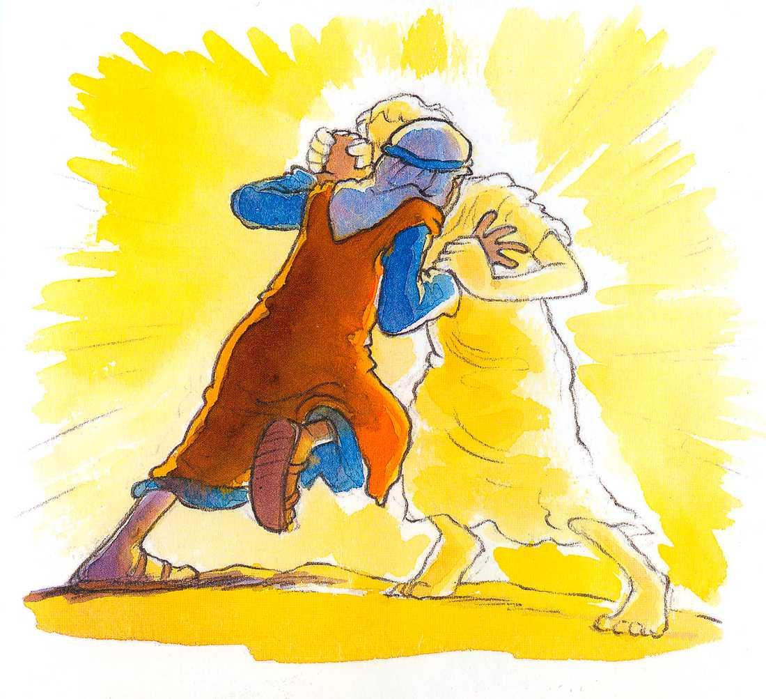 """SVETTIGT Jacob i en brottningsmatch med Gud - så som """"Barnbibeln"""" beskriver Första Moseboken 32:26-28."""