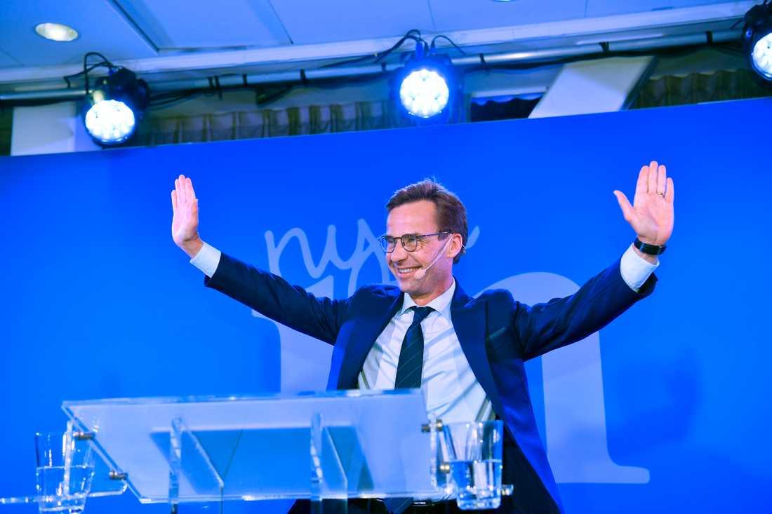 Partiledaren Ulf Kristersson på Moderaternas valvaka på Scandic Continental på Vasagatan i Stockholm.
