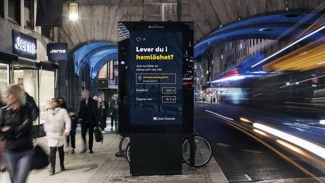 Reklamen på de digitala skyltarna i Stockholm ska bytas mot information för hemlösa när temperaturen sjunker under sju minusgrader i vinter.